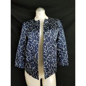 Pendleton Size 10P Blue Off White Blazer Silk